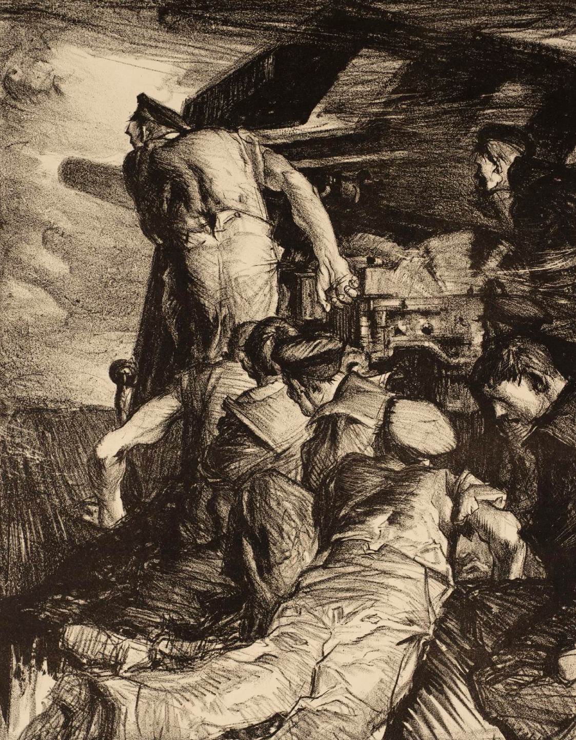 Making Sailors: The Gun c.1917 by Sir Frank Brangwyn 1867-1956