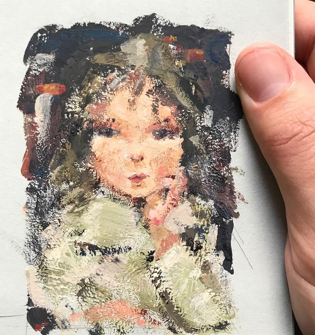 aclaussen.com - Masterstudy Nicolai Fechin - Portrait of a Girl