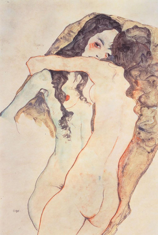 Egon Schiele - Two women embracing