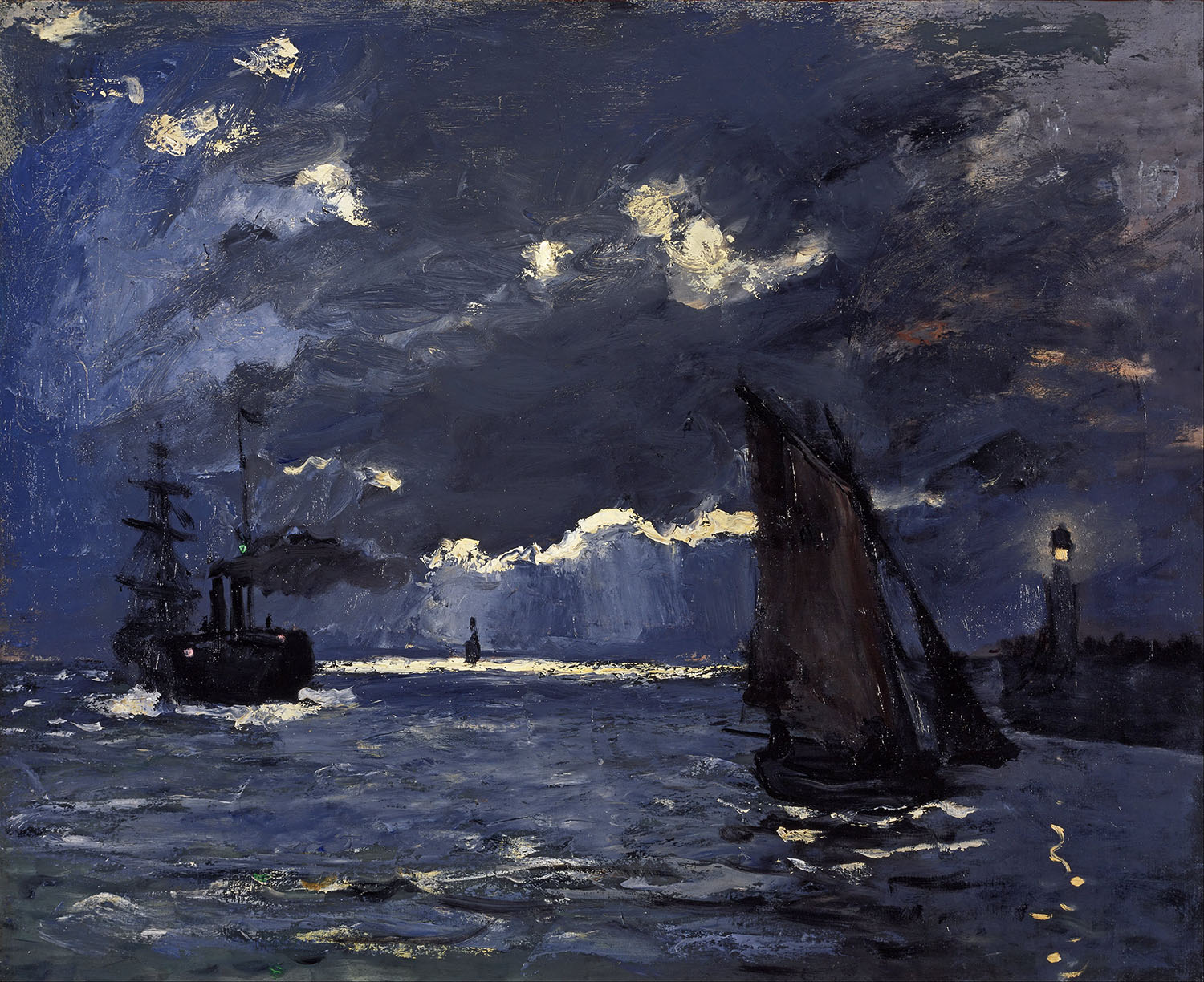 Claude Monet - Shipping by Moonlight